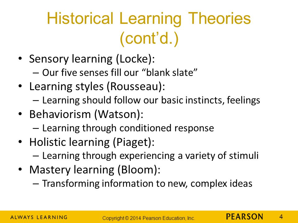 "Copyright © 2014 Pearson Education, Inc. 4 Historical Learning Theories (cont'd.) Sensory learning (Locke): – Our five senses fill our ""blank slate"" L"