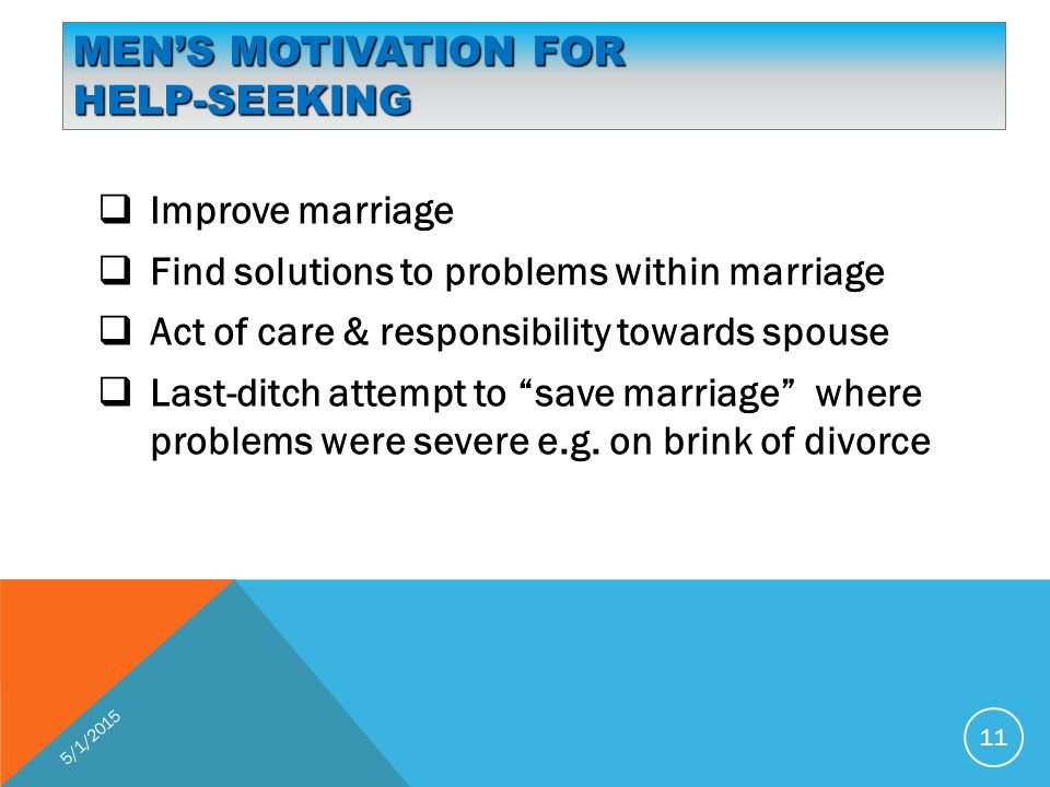 MEN'S MOTIVATION FOR HELP-SEEKING  Improve marriage  Find solutions to problems within marriage  Act of care & responsibility towards spouse  Last-ditch attempt to save marriage where problems were severe e.g.