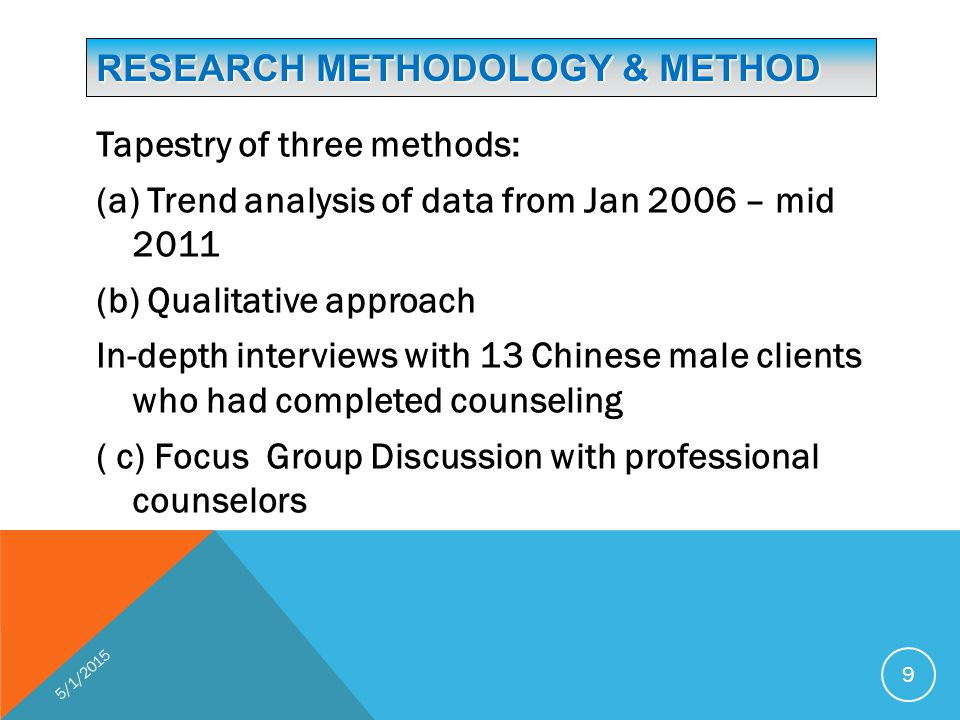 RESEARCH METHODOLOGY & METHOD Tapestry of three methods: (a) Trend analysis of data from Jan 2006 – mid 2011 (b) Qualitative approach In-depth interviews with 13 Chinese male clients who had completed counseling ( c) Focus Group Discussion with professional counselors 5/1/2015 9