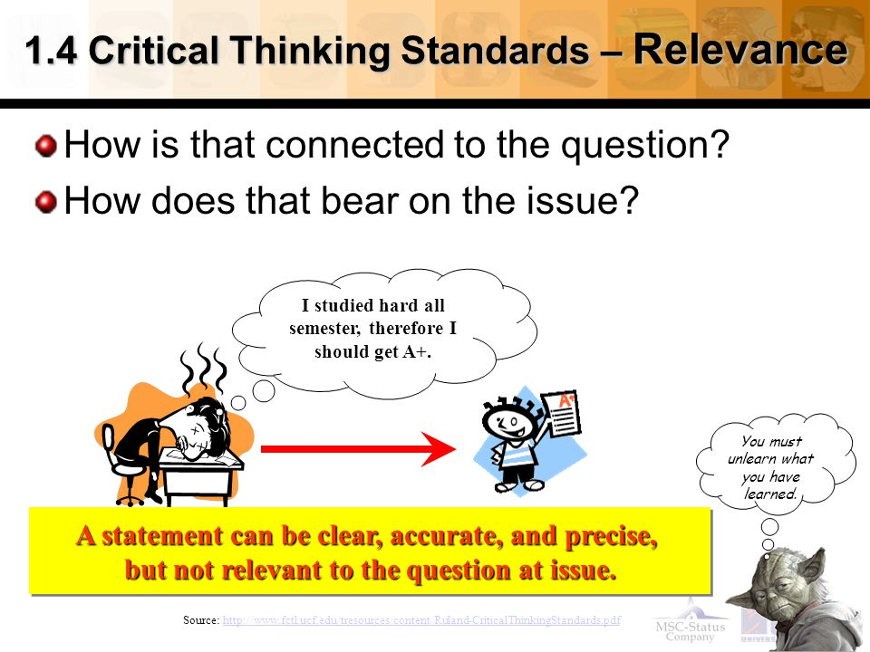 23 1.4 Critical Thinking Standards – Relevance How is that connected to the question.