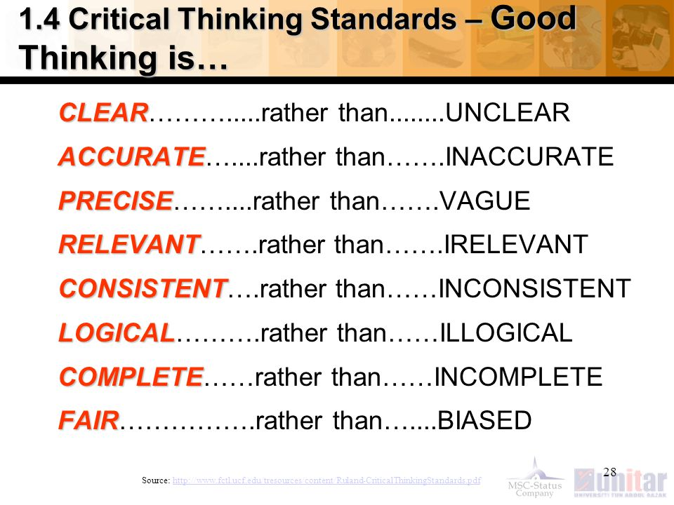28 1.4 Critical Thinking Standards – Good Thinking is… CLEAR CLEAR……….....rather than........UNCLEAR ACCURATE ACCURATE…....rather than…….INACCURATE PRECISE PRECISE……....rather than…….VAGUE RELEVANT RELEVANT…….rather than…….IRELEVANT CONSISTENT CONSISTENT….rather than……INCONSISTENT LOGICAL LOGICAL……….rather than……ILLOGICAL COMPLETE COMPLETE……rather than……INCOMPLETE FAIR FAIR…………….rather than…....BIASED Source: http://www.fctl.ucf.edu/tresources/content/Ruland-CriticalThinkingStandards.pdfhttp://www.fctl.ucf.edu/tresources/content/Ruland-CriticalThinkingStandards.pdf