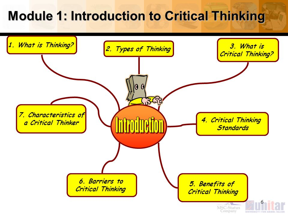 6 Module 1: Introduction to Critical Thinking 1.What is Thinking.