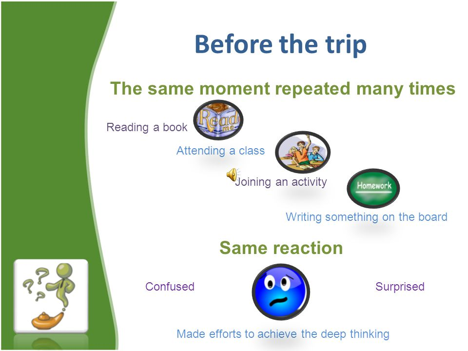 Before the trip Attending a class Reading a book Joining an activity Writing something on the board The same moment repeated many times Same reaction SurprisedConfused Made efforts to achieve the deep thinking