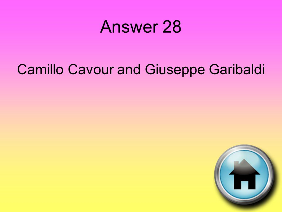 Answer 28 Camillo Cavour and Giuseppe Garibaldi