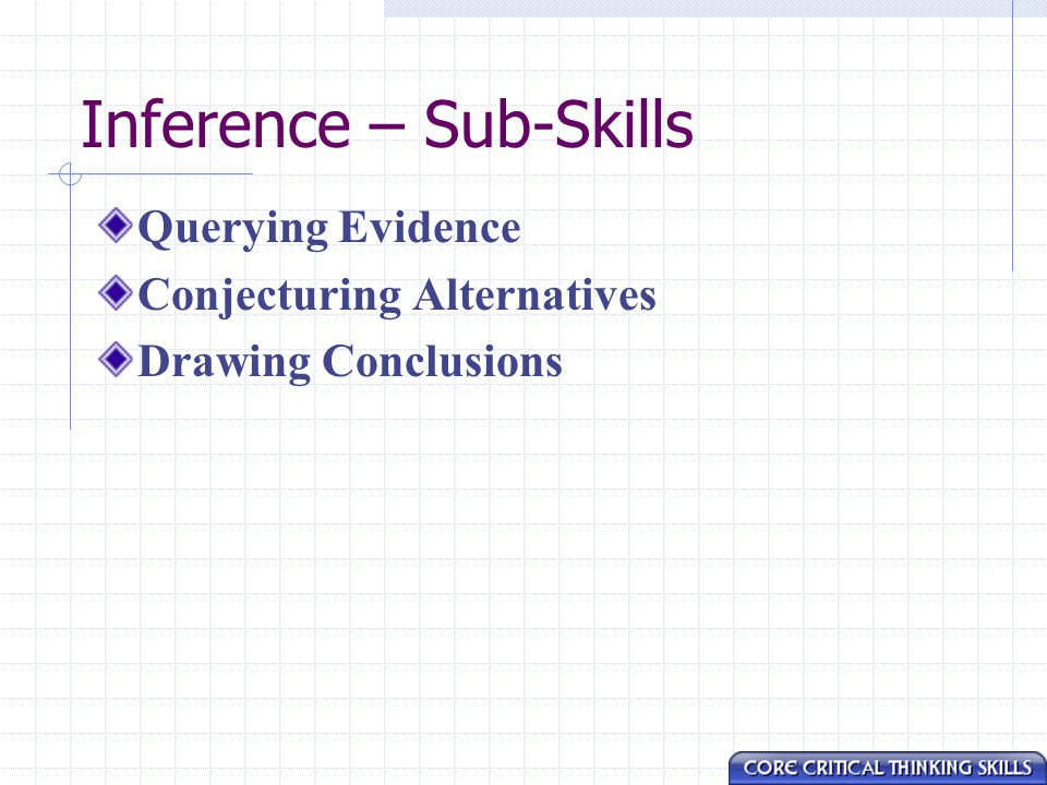 Inference – Sub-Skills Querying Evidence Conjecturing Alternatives Drawing Conclusions