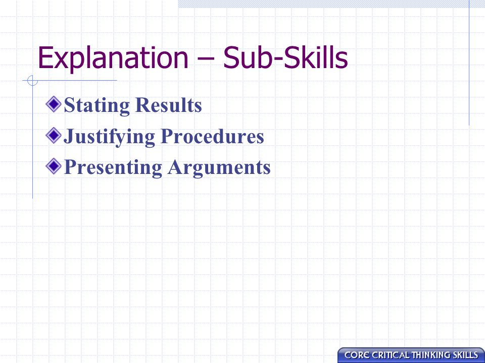 Explanation – Sub-Skills Stating Results Justifying Procedures Presenting Arguments