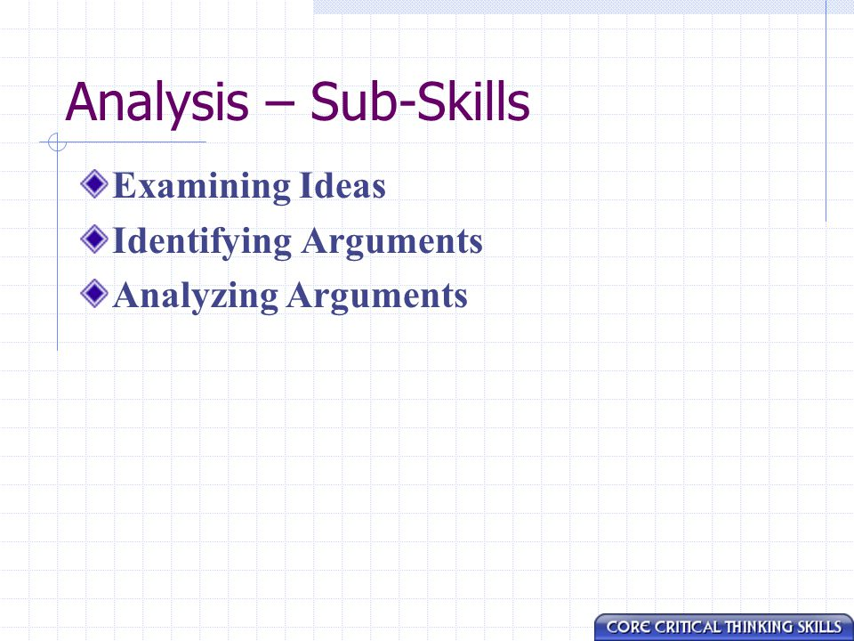 Analysis – Sub-Skills Examining Ideas Identifying Arguments Analyzing Arguments
