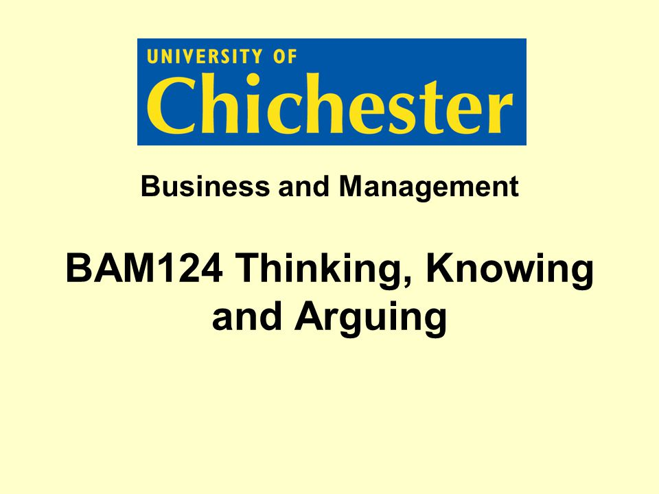 BAM124 Thinking, Knowing and Arguing Business and Management