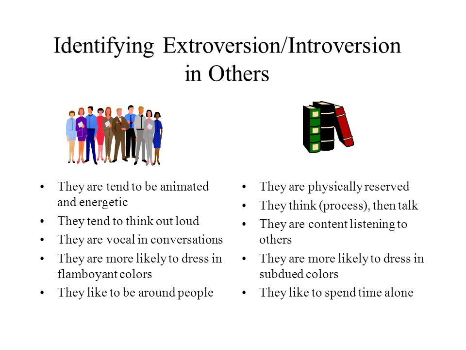 Identifying Extroversion/Introversion in Others They are tend to be animated and energetic They tend to think out loud They are vocal in conversations