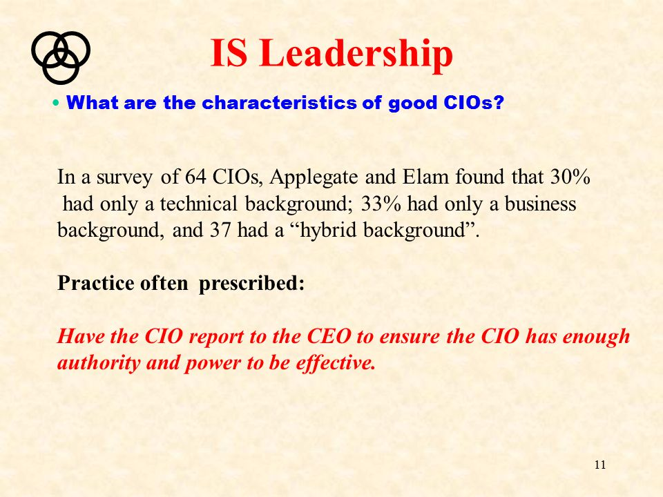"""11 In a survey of 64 CIOs, Applegate and Elam found that 30% had only a technical background; 33% had only a business background, and 37 had a """"hybrid"""