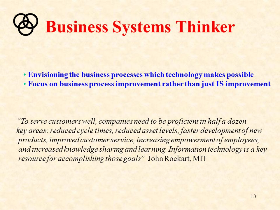 13 Business Systems Thinker Envisioning the business processes which technology makes possible Focus on business process improvement rather than just