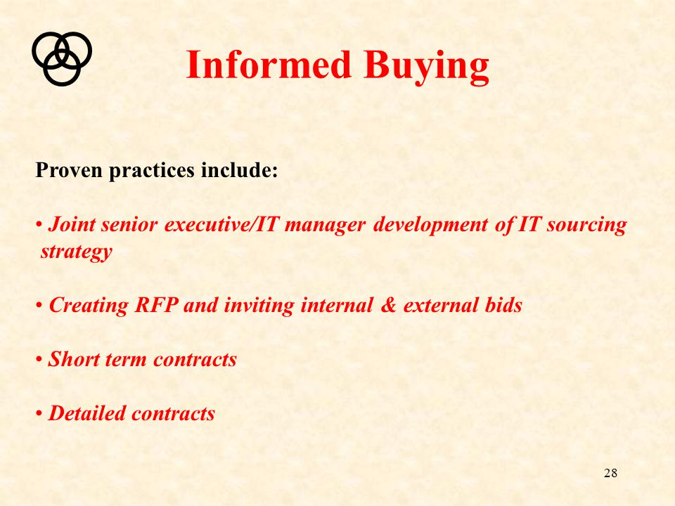 28 Informed Buying Proven practices include: Joint senior executive/IT manager development of IT sourcing strategy Creating RFP and inviting internal