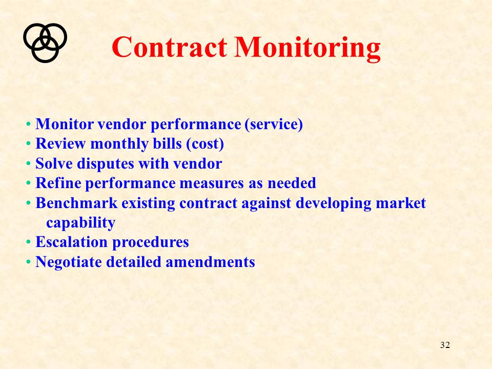 32 Contract Monitoring Monitor vendor performance (service) Review monthly bills (cost) Solve disputes with vendor Refine performance measures as need