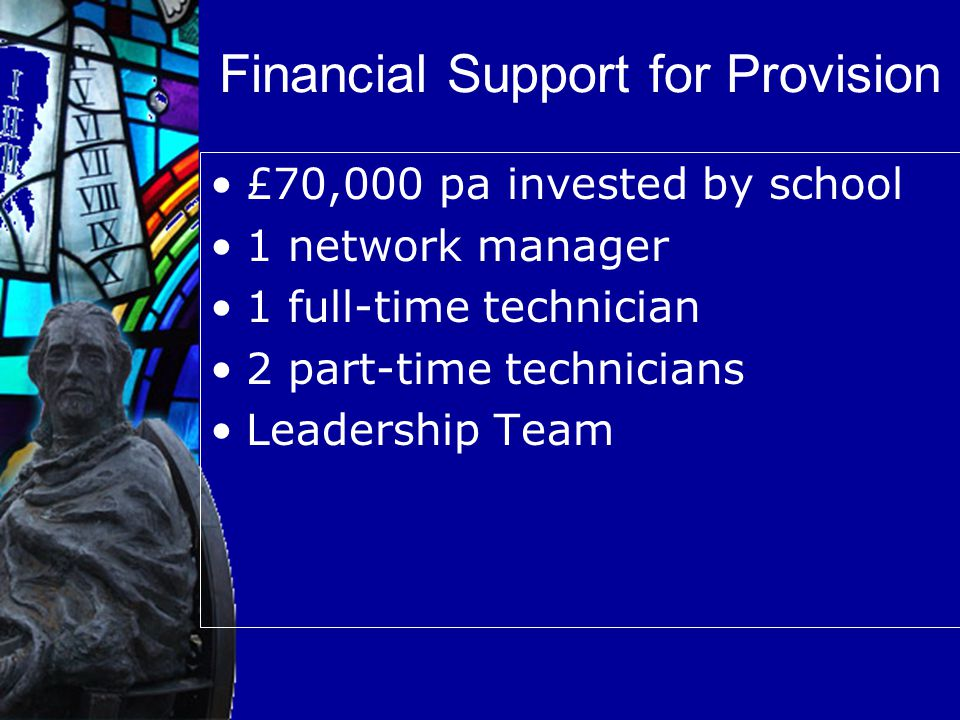 Financial Support for Provision £70,000 pa invested by school 1 network manager 1 full-time technician 2 part-time technicians Leadership Team