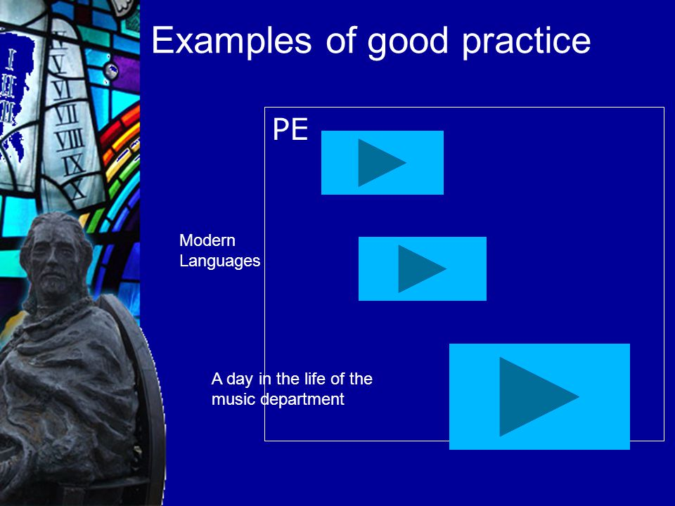 Examples of good practice PE Modern Languages A day in the life of the music department