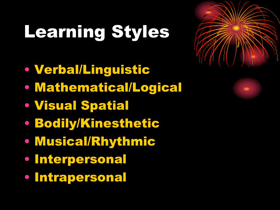 Learning Styles Verbal/Linguistic Mathematical/Logical Visual Spatial Bodily/Kinesthetic Musical/Rhythmic Interpersonal Intrapersonal