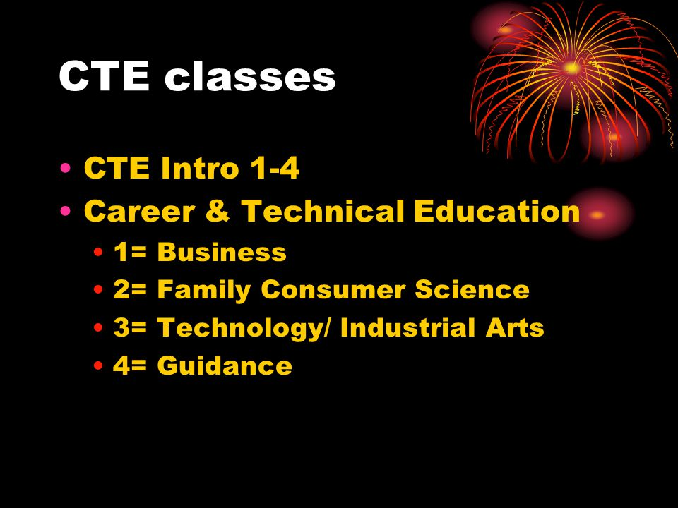 CTE classes CTE Intro 1-4 Career & Technical Education 1= Business 2= Family Consumer Science 3= Technology/ Industrial Arts 4= Guidance