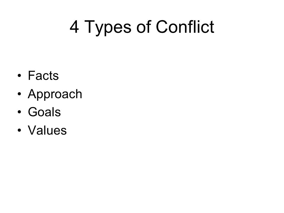 4 Types of Conflict Facts Approach Goals Values