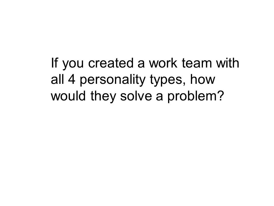 If you created a work team with all 4 personality types, how would they solve a problem