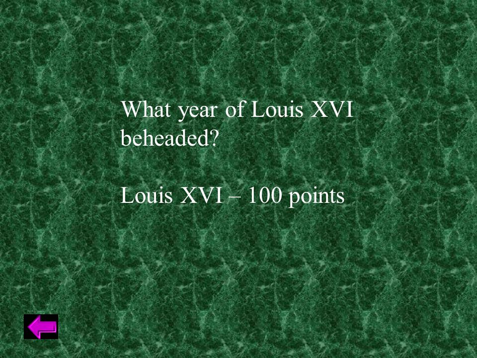 What year of Louis XVI beheaded Louis XVI – 100 points