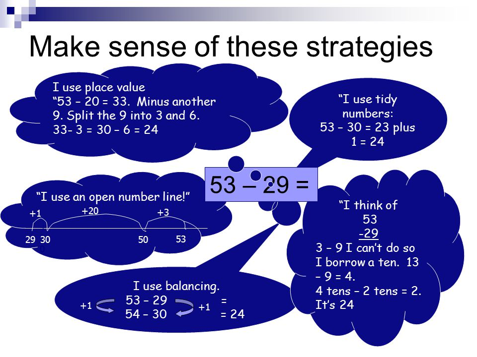 Make sense of these strategies I use tidy numbers: 53 – 30 = 23 plus 1 = 24 I use balancing.