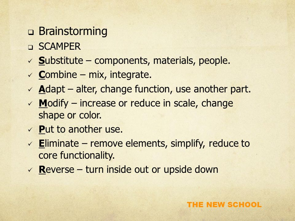 THE NEW SCHOOL  Brainstorming  SCAMPER Substitute – components, materials, people. Combine – mix, integrate. Adapt – alter, change function, use ano