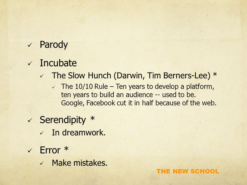 THE NEW SCHOOL Parody Incubate The Slow Hunch (Darwin, Tim Berners-Lee) * The 10/10 Rule – Ten years to develop a platform, ten years to build an audience -- used to be.