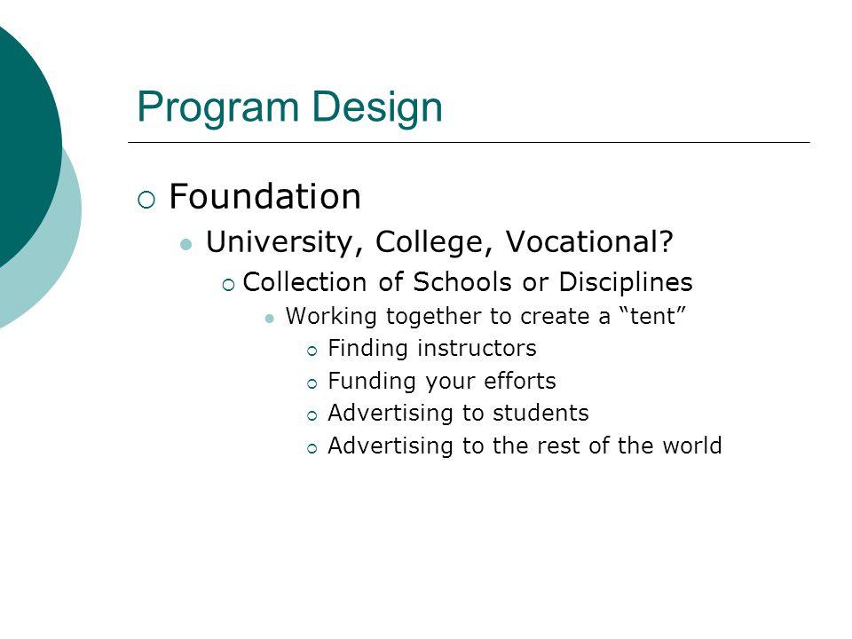 Program Design  Foundation University, College, Vocational.