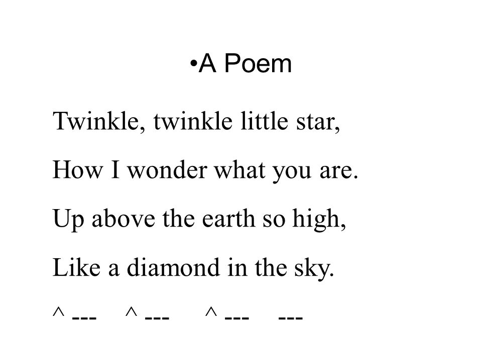 A Poem Twinkle, twinkle little star, How I wonder what you are.