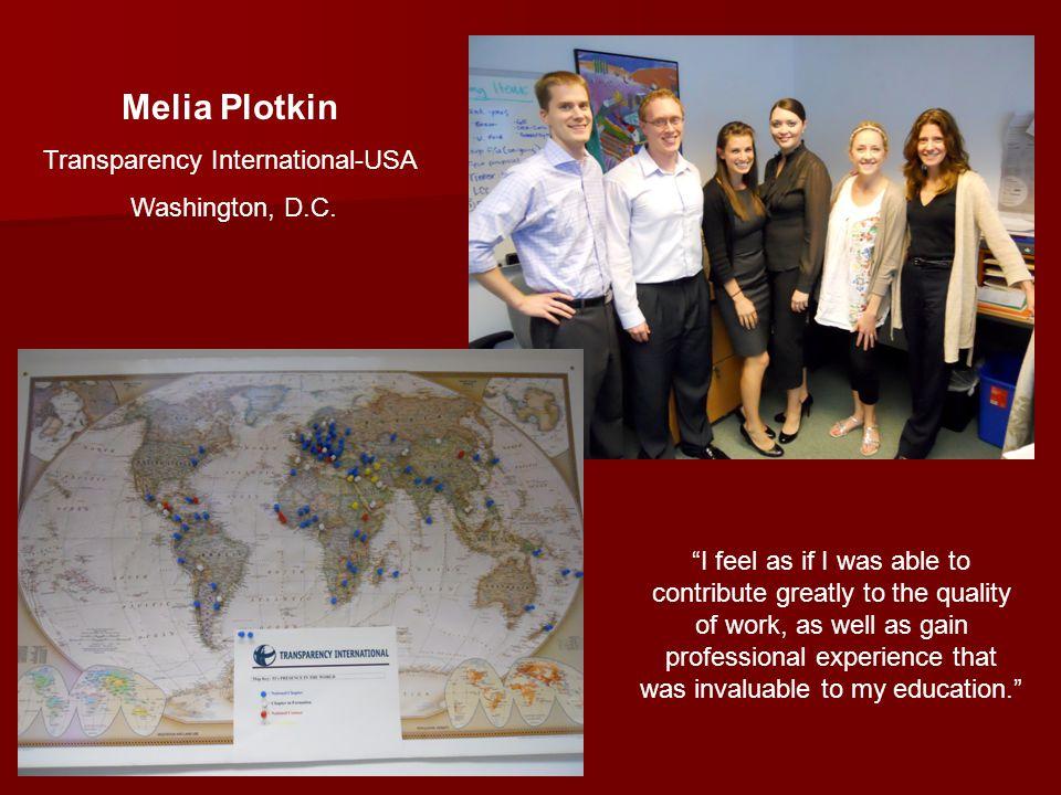 Melia Plotkin Transparency International-USA Washington, D.C.