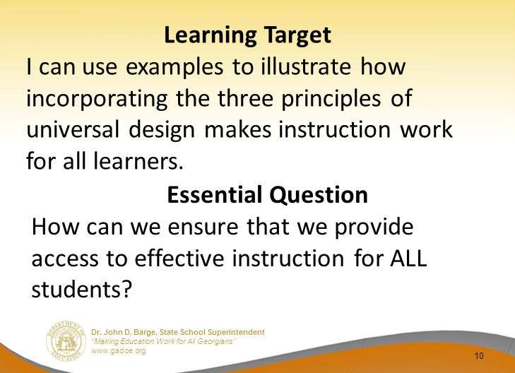 """Dr. John D. Barge, State School Superintendent """"Making Education Work for All Georgians"""" www.gadoe.org Learning Target I can use examples to illustrat"""