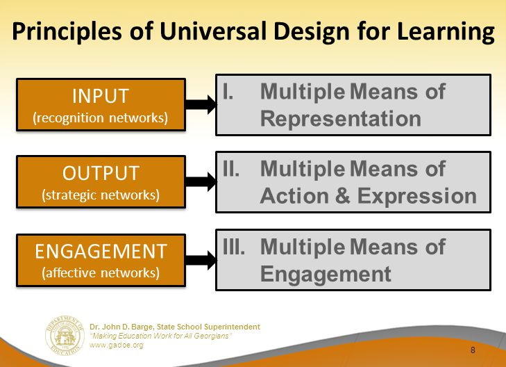 """Dr. John D. Barge, State School Superintendent """"Making Education Work for All Georgians"""" www.gadoe.org Principles of Universal Design for Learning 8 I"""