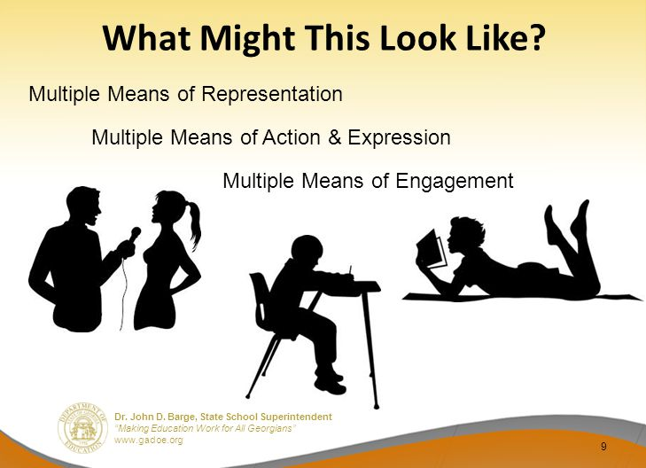 """Dr. John D. Barge, State School Superintendent """"Making Education Work for All Georgians"""" www.gadoe.org What Might This Look Like? 9 Multiple Means of"""