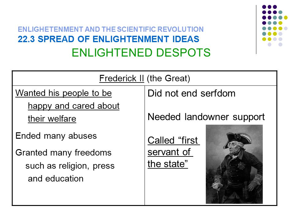 ENLIGHETENMENT AND THE SCIENTIFIC REVOLUTION 22.3 SPREAD OF ENLIGHTENMENT IDEAS ENLIGHTENED DESPOTS Frederick II (the Great) Wanted his people to be h
