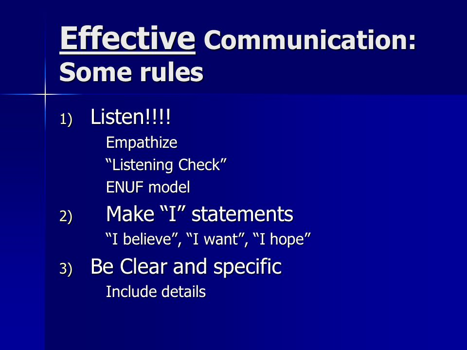 Effective Communication: Some rules 1) Listen!!!.