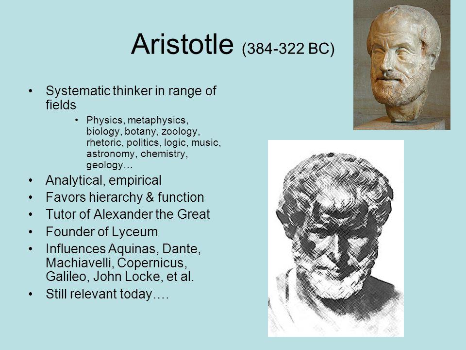 Aristotle (384-322 BC) Systematic thinker in range of fields Physics, metaphysics, biology, botany, zoology, rhetoric, politics, logic, music, astrono