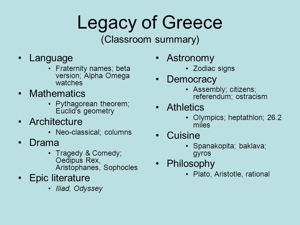 Legacy of Greece (Classroom summary) Language Fraternity names; beta version; Alpha Omega watches Mathematics Pythagorean theorem; Euclid's geometry A