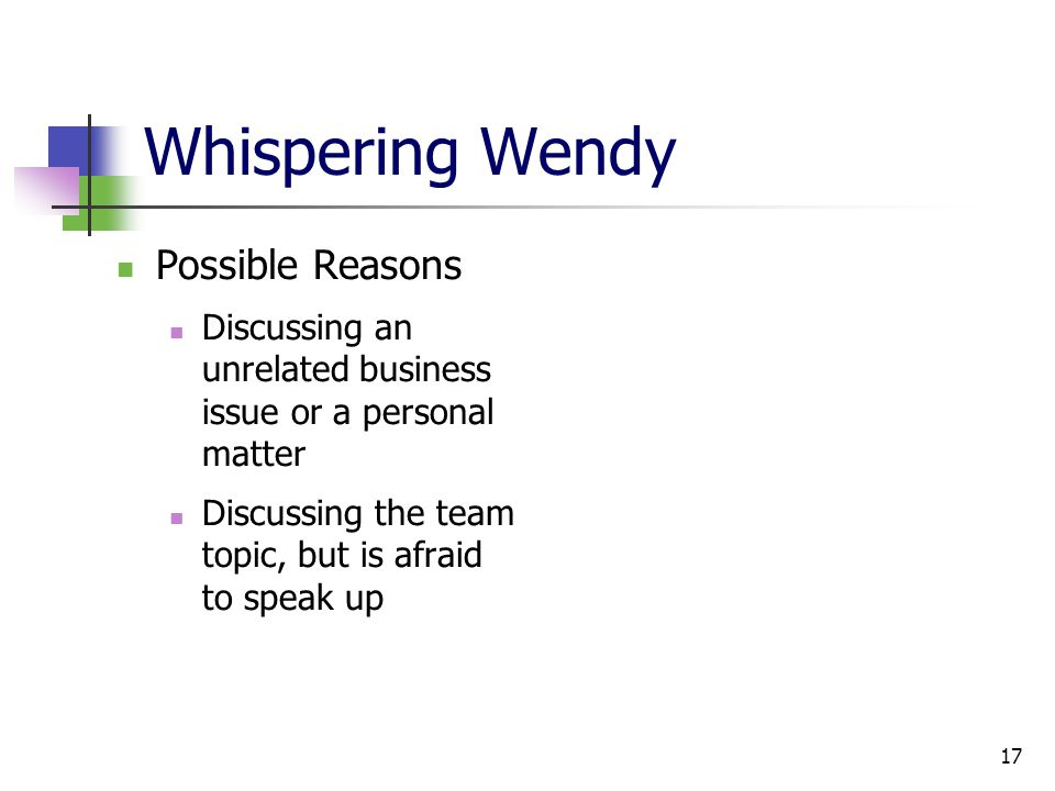 17 Whispering Wendy Possible Reasons Discussing an unrelated business issue or a personal matter Discussing the team topic, but is afraid to speak up