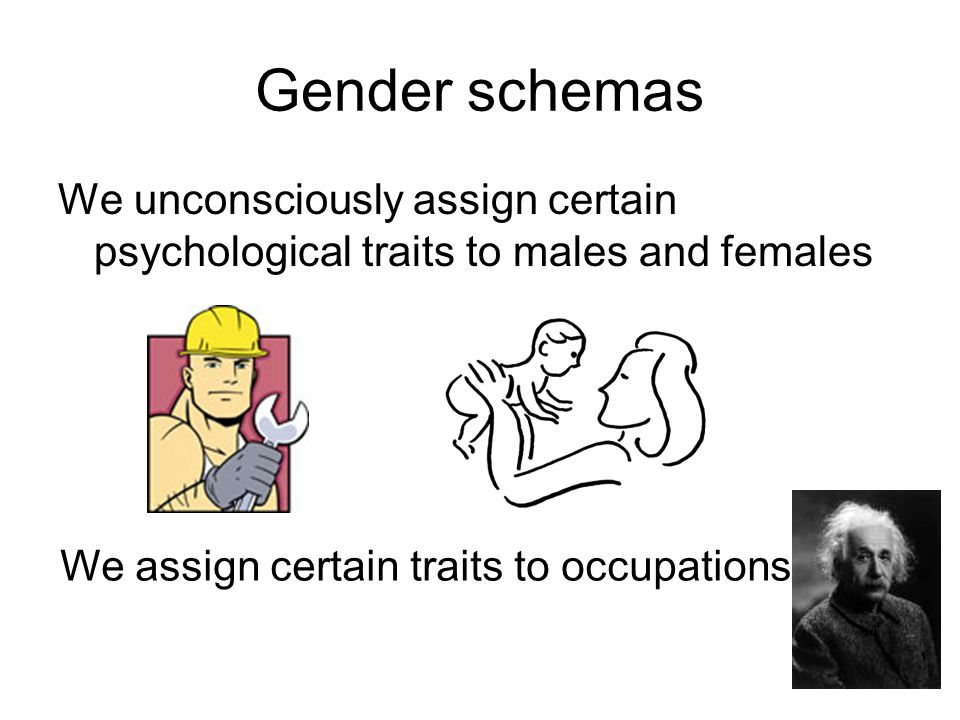 Gender schemas We unconsciously assign certain psychological traits to males and females We assign certain traits to occupations