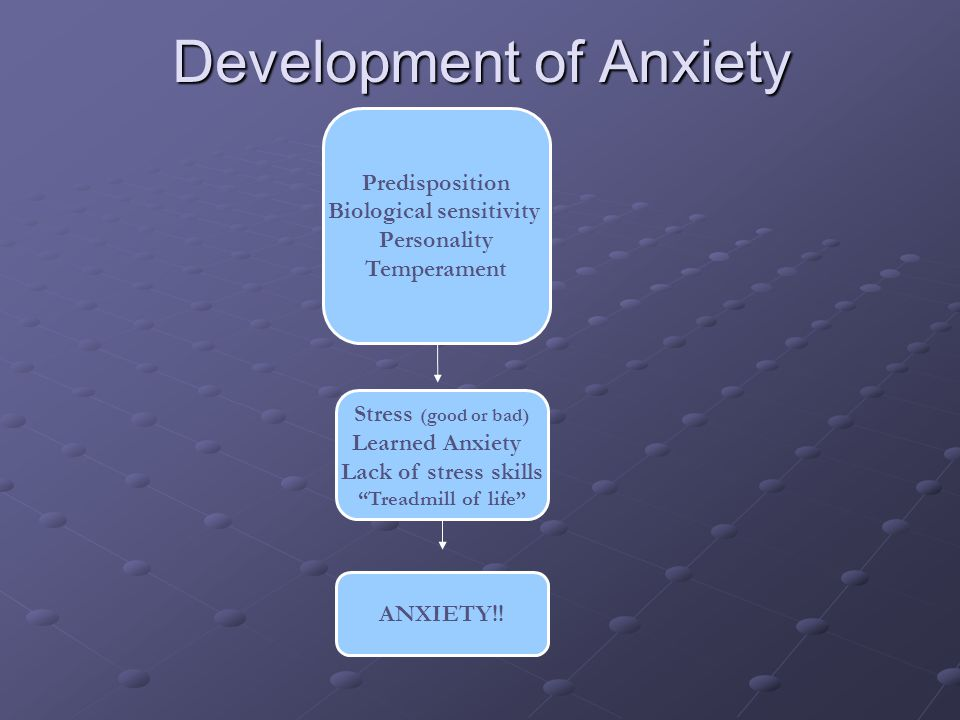 Development of Anxiety Predisposition Biological sensitivity Personality Temperament Stress (good or bad) Learned Anxiety Lack of stress skills Treadmill of life ANXIETY!!