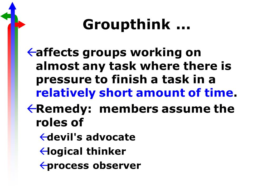 Groupthink... ßaffects groups working on almost any task where there is pressure to finish a task in a relatively short amount of time. ßRemedy: membe