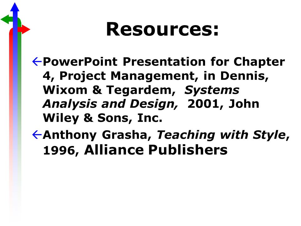 Resources: ßPowerPoint Presentation for Chapter 4, Project Management, in Dennis, Wixom & Tegardem, Systems Analysis and Design, 2001, John Wiley & Sons, Inc.