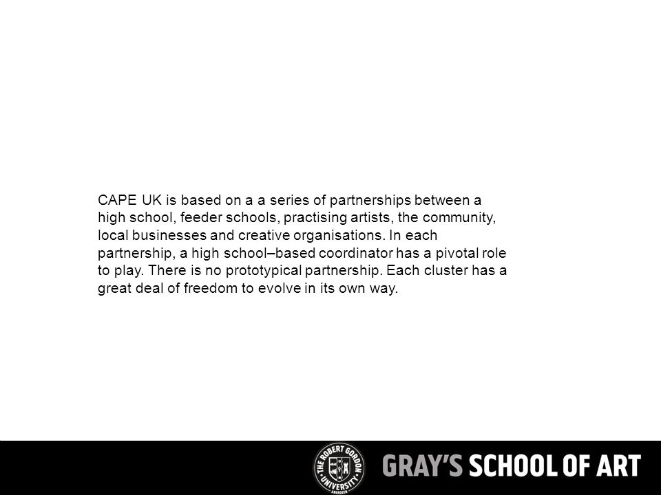 CAPE UK is based on a a series of partnerships between a high school, feeder schools, practising artists, the community, local businesses and creative organisations.