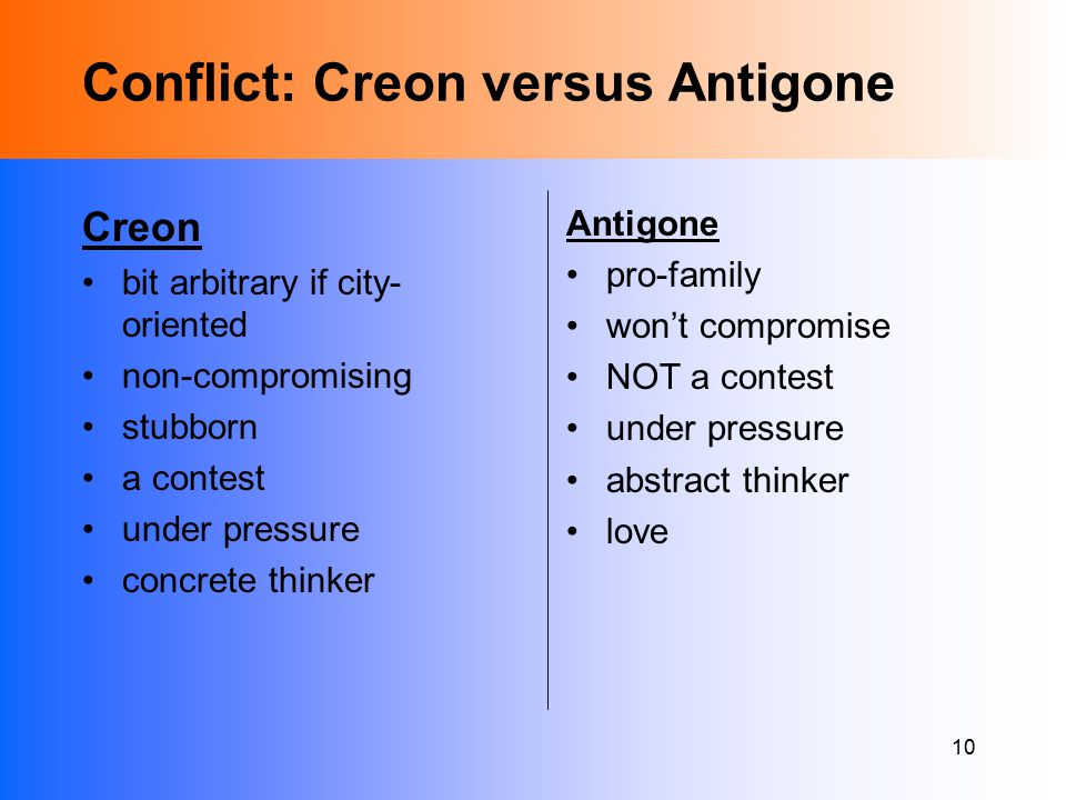 10 Conflict: Creon versus Antigone Creon bit arbitrary if city- oriented non-compromising stubborn a contest under pressure concrete thinker Antigone pro-family won't compromise NOT a contest under pressure abstract thinker love