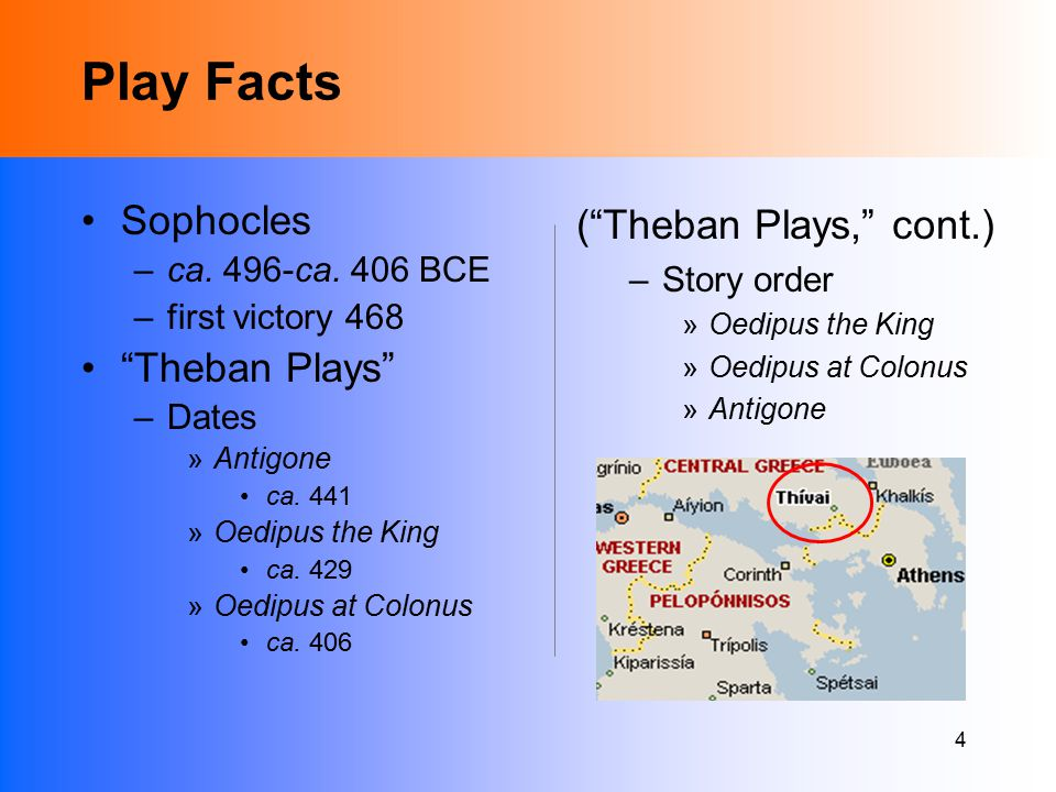4 Play Facts Sophocles –ca. 496-ca. 406 BCE –first victory 468 Theban Plays –Dates »Antigone ca.