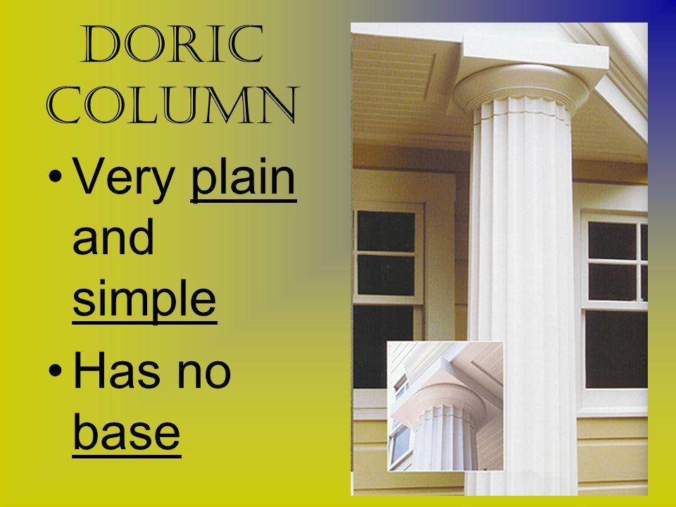 Doric Column Very plain and simple Has no base