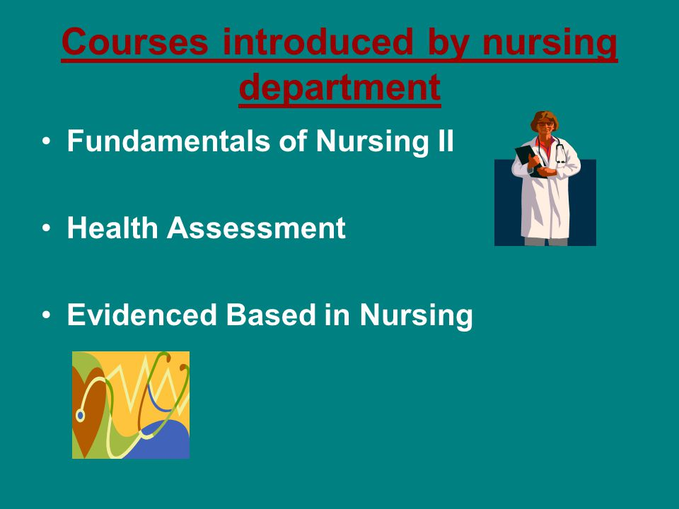 Courses introduced by nursing department Fundamentals of Nursing II Health Assessment Evidenced Based in Nursing