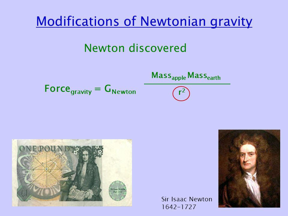 Modifications of Newtonian gravity Newton discovered Force gravity = G Newton Mass apple Mass earth r2r2 Sir Isaac Newton 1642-1727
