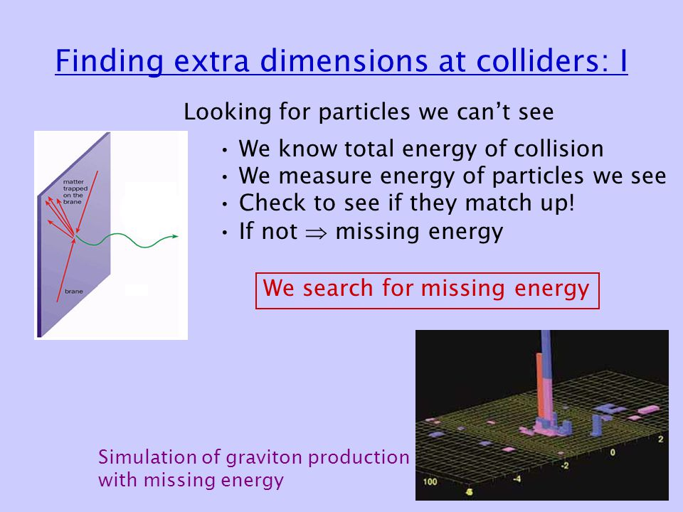 Finding extra dimensions at colliders: I Looking for particles we can't see We know total energy of collision We measure energy of particles we see Check to see if they match up.