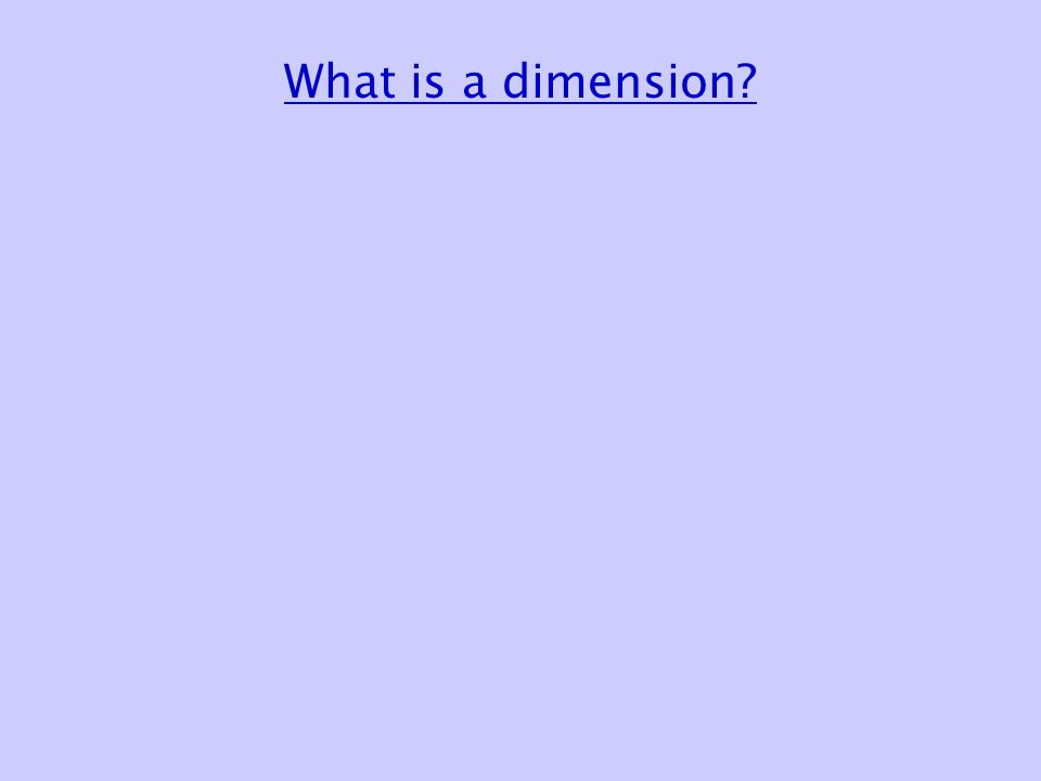 What is a dimension? Traveling by car 1-dimensional space Republican City, NE